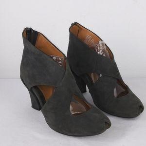 Earthies SYRIANA Peep Toe Dark Gray Ankle Booties